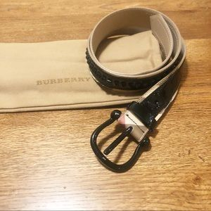 Burberry Nova Check Studded Black Belt
